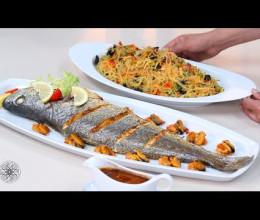 Recette facile et réussie de poisson au four, salade de vermicelle aux fruits de mer