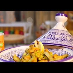 Poulet M'qalli aux fèves et cœurs d'artichaut