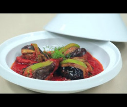 Tajine d'aubergines farcies à la viande hachée