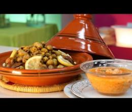 حساء الشعير بالجمبري والخضر، طاجين كبد الدجاج بالزيتون