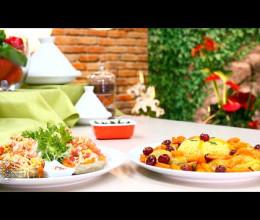 Tajine de poulet au riz, carottes et olives rouges / Salade de cœurs d'artichaut aux crevettes